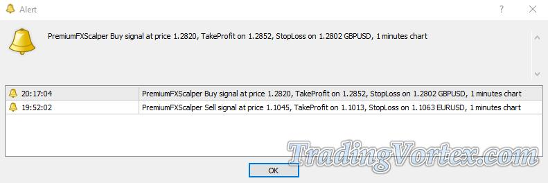 Premium FX Scalper Signal Popup Alert Window